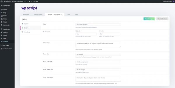 Age Verification WP plugin content options