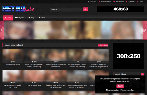 Example of Cookie Consent with RetroTube Theme
