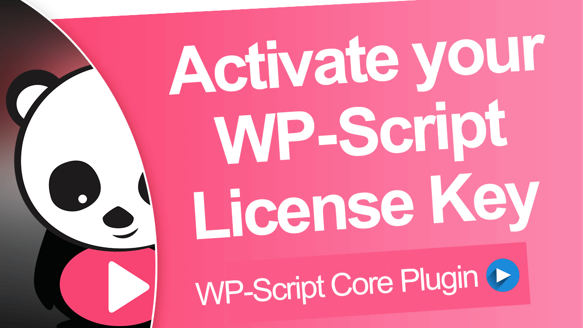 Activate your WP-Script License Key