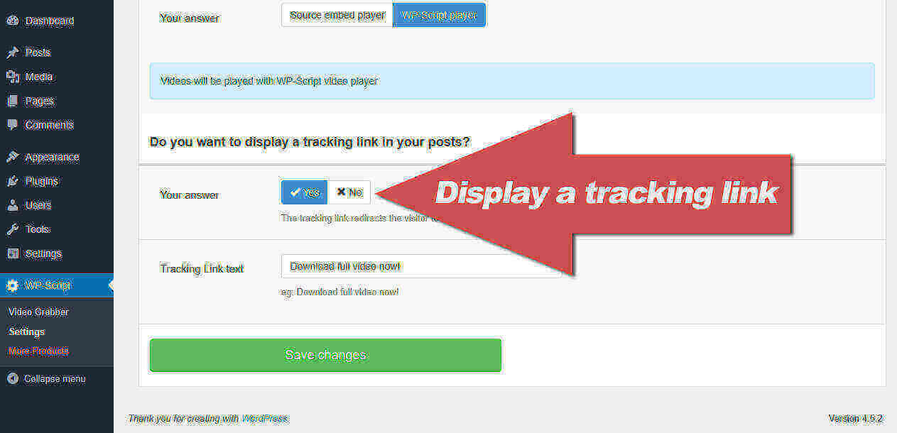 Display a tracking link