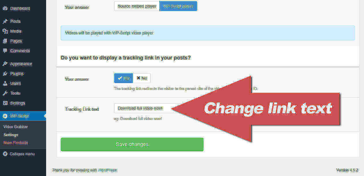 Change the tracking link text