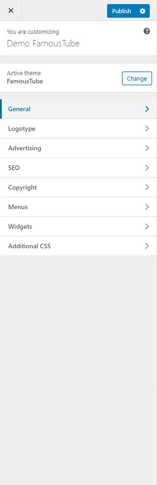 FamousTube admin theme options
